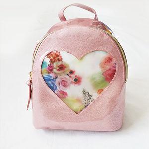 Handbags - Pink Glitter Rose Heart Window Mini Backpack